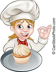 Woman Chef or Baker Cartoon - A woman chef or baker cartoon...