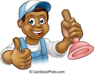 Cartoon Black Plumber Handyman Holding Punger - A plumber...