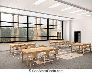 テーブル, 椅子, 部屋, 木製である, 現代, イラスト, 大きい, 食事をする, 窓, 3D