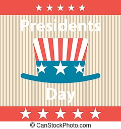 Presidents Day Icon - Presidents Day retro poster with hat...