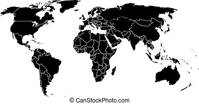 World map on a white background - Blank black like a world...