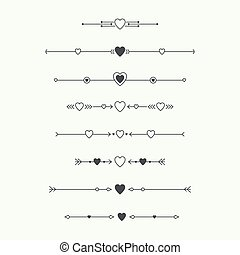 Dividers vector set isolated. Geometric horizontal vintage...