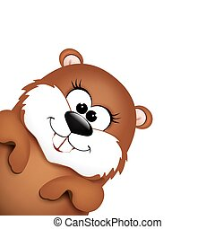 Happy Groundhog Day design. Vector illustration background.
