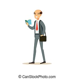 Bold Man Teacher Walking Reading A Book, Smiling Person In The Library Vector Illustration