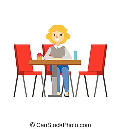 Woman Alone At The Table Eating Cupcake, Smiling Person Having A Dessert In Sweet Pastry Cafe Vector Illustration