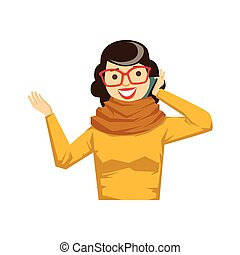 Woman In Glasses And Yellow Sweater Chatting On Smartphone,...