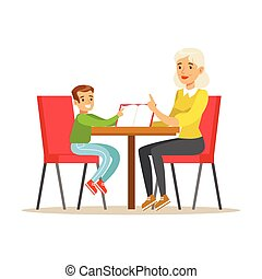 Grandmother And A Boy Reading a Book Together, Smiling Person In The Library Vector Illustration