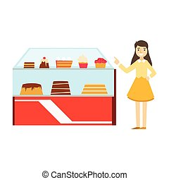 Woman Standing Next To Display Case With Cake Assortment, Smiling Person Having A Dessert In Sweet Pastry Cafe Vector Illustration