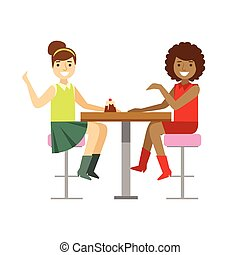 Girlfriends Chatting Sharing A Cake, Smiling Person Having A Dessert In Sweet Pastry Cafe Vector Illustration