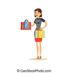 Woman With Clothing Outlet Bags Shopping In Department Store ,Cartoon Character Buying Things In The Shop
