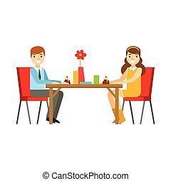 Young Couple On A Date Eating Cakes, Smiling Person Having A Dessert In Sweet Pastry Cafe Vector Illustration