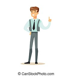 Man In Vest With A Tie, Part Of Office Workers Series Of Cartoon Characters In Official Clothing
