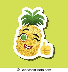 Pineapple Showing Thumbs Up, Cute Emoji Sticker On Green Background