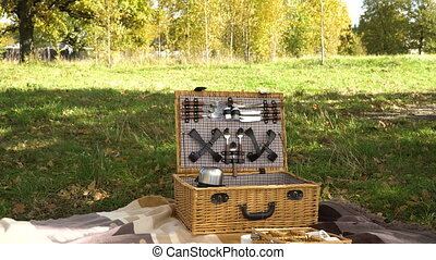 Wooden basket for picnic. - Wooden basket for picnic with...