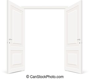 double white open door isolated