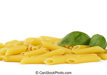 some raw penne rigate with basil on white background