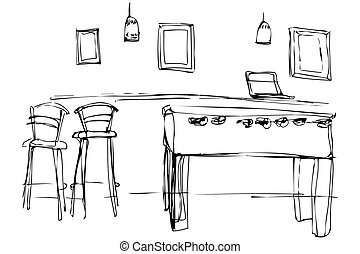 vector sketch of a slot machine in a cafe near the high chair