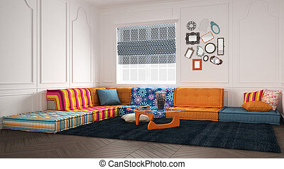 Classic living with colored modern couch sofa