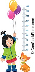 Meter wall or height chart with girl and kitten - Meter wall...