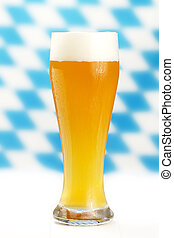 wheat beer with blue and white bavarian rhombus background