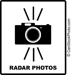 Speed road radar icon. Notice traffic symbol isolated on white. Camera black silhouette. Vector illustration