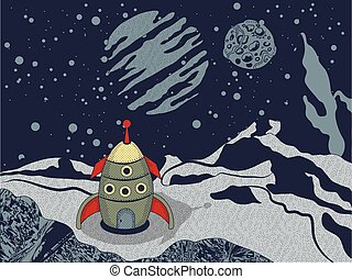 space rocket on alien world - Vector illustration of space...