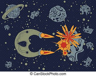 asteroid destroyer - Vector illustration of a spaceship...