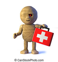 3d Funny Halloween Egyptian mummy monster brings first aid -...
