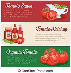 Tomato sauce design set of banners. Illustration of red...