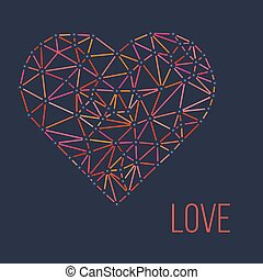 polygonal wireframe heart, valentines day Vector