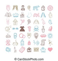 49 hand drawing doodle different icon set