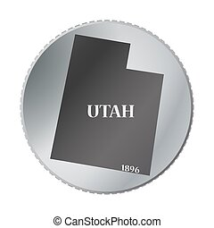Utah State Coin - A Utah state coin isolated on a white...