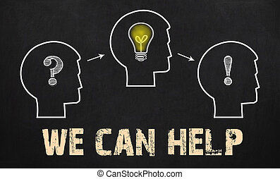 We can help - group of three people with question mark, cogwheels and light bulb on chalkboard background