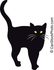 Black cat vector - Illustration of a black cat with green...