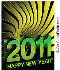 New years - Happy New years 2011 yellow Card with...