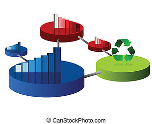 Business Circle graphs - Different colors business circle...