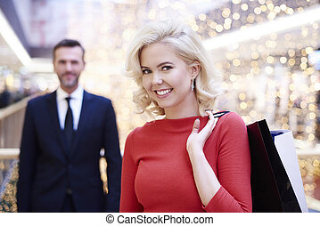 POrtrait of shopping woman in red dress