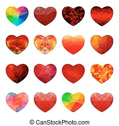 valentines day-21 - Polygonal hearts set isolated on white...