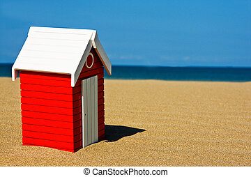 Beach hut in a sunny summer day