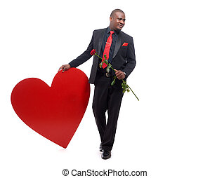 African man holding present to Valentine Day. - Young and...