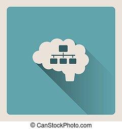 Brain organizing illustration on blue background with shade