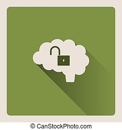 Unlocked brain illustration on green background with shade