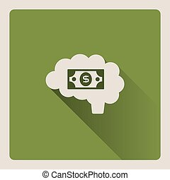 Brain thinking in money on green background with shade