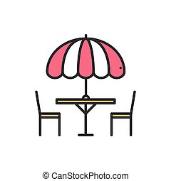 Thin line icons set. Table and chair outside. Outdoors....