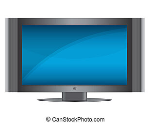 TV Set - Modern Flat screen TV isolated over a white...