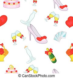 Wedding pattern, cartoon style - Wedding pattern. Cartoon...