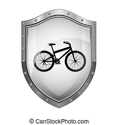 metallic shield with silhouette bicycle and rack