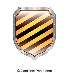 metallic shield with diagonal stripe