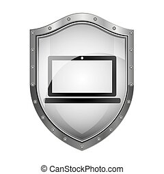 metallic shield with laptop screen with keyboard