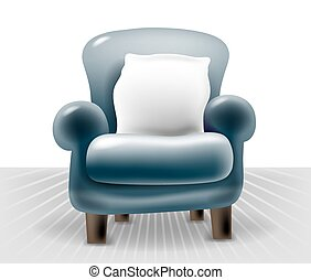 dark blue leather chair with a white pillow in light interior